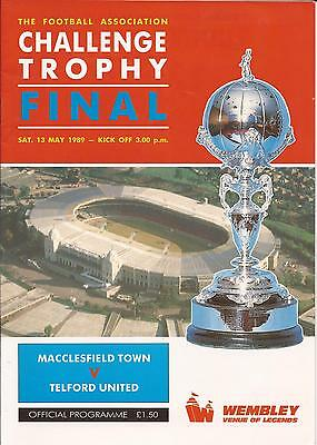 Football Programme - Macclesfield Town v Telford United - FA Trophy FINAL - 1989