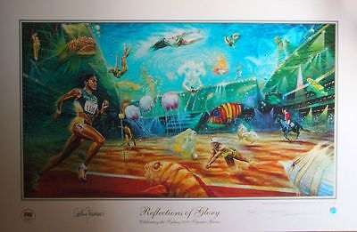 """Sydney 2000 Olympic Games """"Reflections Of Glory"""" Signed By Cathy Freeman & Art"""