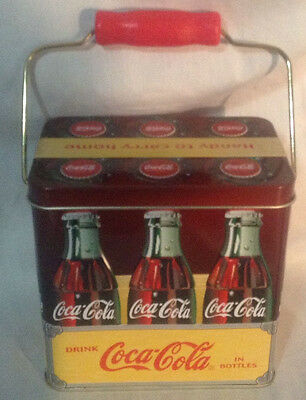 Coca-Cola Tin Container Six Bottle Pack Box Metal Red Handle