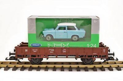 Piko Low-sided wagon brown Gauge II (64mm) with Trabant (Trabants), G Scale
