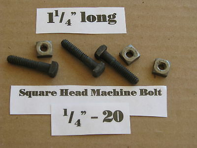 "Antique 1/4' -20 X 1 1/4""  Square Head Bolts with Nuts  NOS LOT of 10"