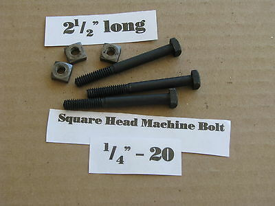"Antique 1/4' -20 X 2 1/2""  Square Head Bolts with Nuts  NOS LOT of 10"