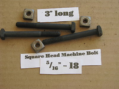 "Antique 5/16""-18 X 3""  Square Head Bolts with Nuts  NOS LOT of 10"