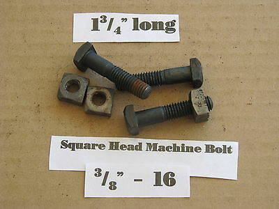 "Antique 3/8""-16 X 1 3/4""  Square Head Bolts with Nuts  NOS LOT of 10"