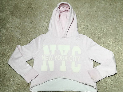 Baby Pink Semi Cropped Hoodie NEW YORK Age 12-13 (Candy Coulture)