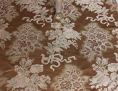 "French Antique Rose & Ribbons Softly Draping Silk Textile Fabric c1890~28""LX25""W"