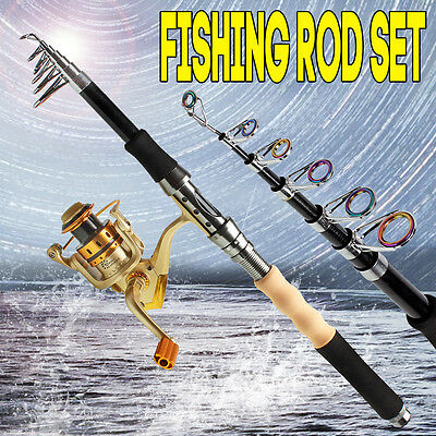 Telescopic Travel Bass Fishing Rod with Reel Kits Spinning Fishing Pole Combos