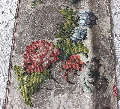 French Antique 18thC (1770) Heavy Silver Metallic & Silk Brocaded Textile Fabric