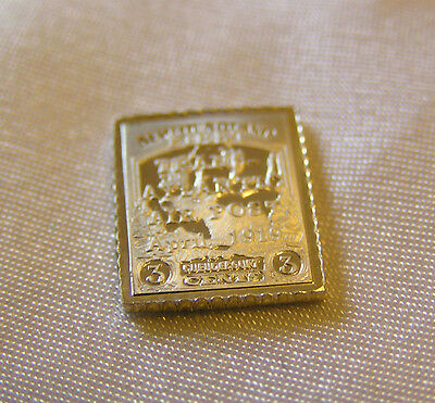 Solid Silver Stamp Newfoundland Canada 1919 Three-Cent Trail Of Caribou