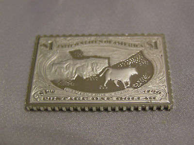 Solid Silver Stamp Ingot United States 1898 $1 Trans-Mississippi Western Cattle