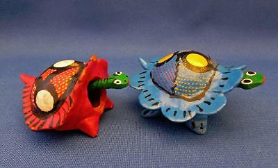 """Lot of 2 Collectible Hand Crafted """"Turtle"""" Nodders - Mexico"""