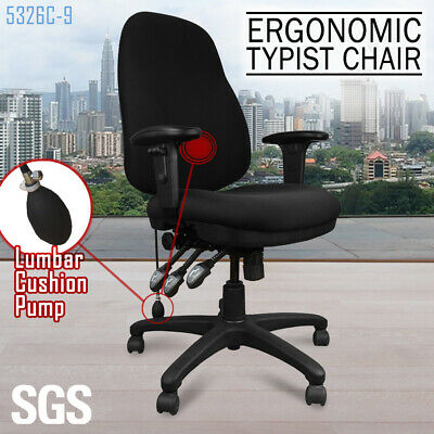Executive Office TYPIST CHAIR Fully Ergonomic Computer Seat Black Fabric