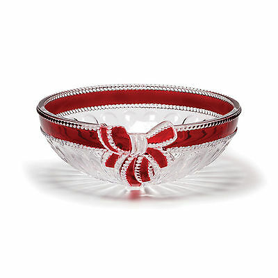 NEW Celebrations by Mikasa Crystal Hosts Bowl with Ruby Ribbon