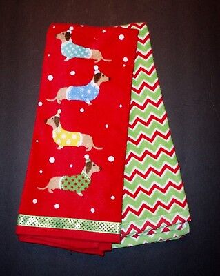 Set of 2 Christmas Holiday Dachshund Dogs Hand Towels