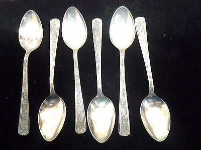 .950 Silver (6) Spoons Lot with original Box Rose Pattern NICE SET INDEED!