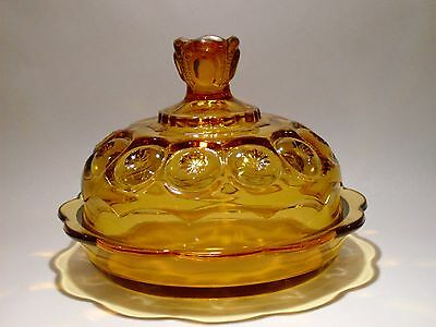 Smith Amber Moon and Stars Round Butter Dish
