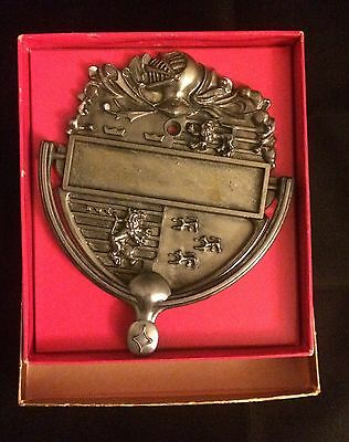 Antique Vintage Brass Door Knocker Lion Knight's Armour Helmet, Original Box