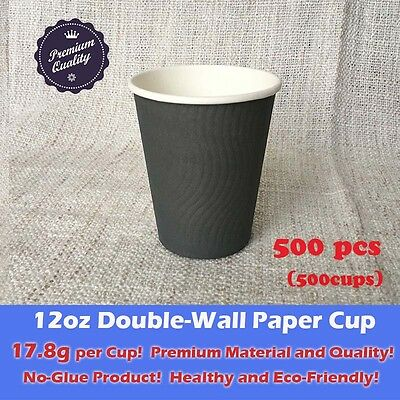 500pcs 12oz Disposable Coffee Cups Double Wall Grey Paper cups Eco friendly 18g