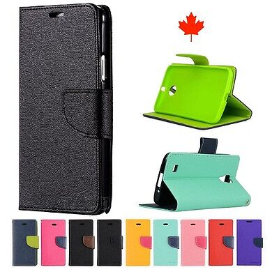 """5.0"""" Google Pixel Deluxe Wallet Leather Flip with TPU Case Cover Stand Canada"""