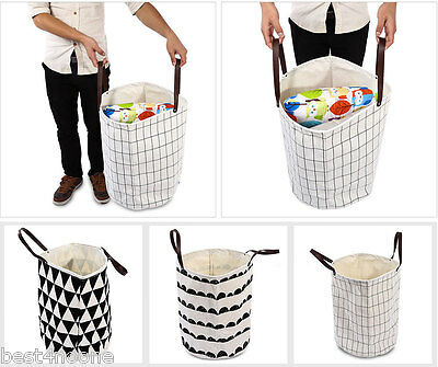 Large Geometric Canvas Kids Toy Clothes Storage Bag Basket Home Organizer