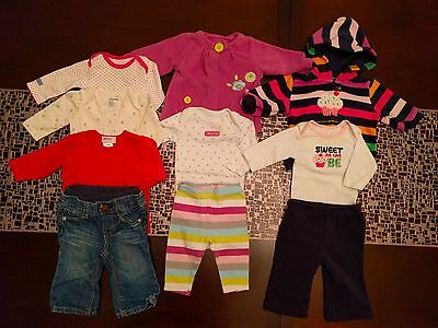Baby girl clothes 0-3 months lot of 10 items - Carters, BabyGap, Zutano