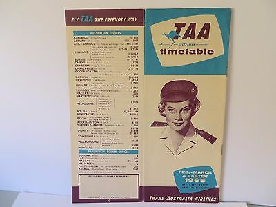 Vintage TAA Timetable Feb-March & Easter 1965 - Very rare & in superb condition!