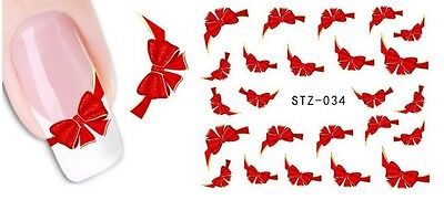 Stickers ongles Nail Art autocollant décalco water decal motif NOEUD ROUGE