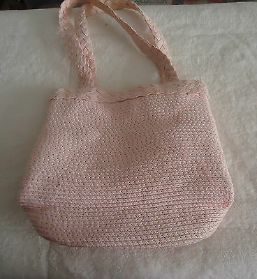 Little Girls Pink Straw Small Tote Bag As New