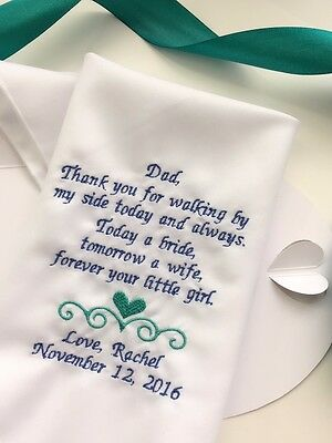 Keepsake Gift For Father Of The Bride-FOB Custom Embroidery Hanky-Blue-Teal/1330