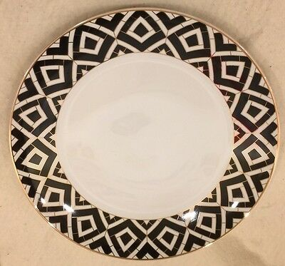 GRACE'S TEAWARE BLACK WHITE EDGE DINNER PLATES Set Of 4 WITH GOLD ACCENTS