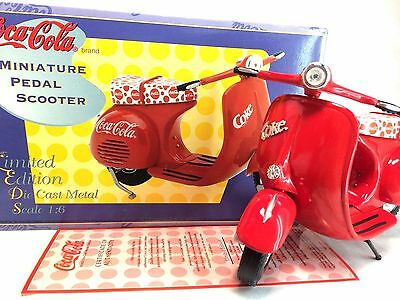 Coca-Cola Brand Vintage 1995 LE Die Cast Miniature Pedal Scooter 1:6 Scale Red