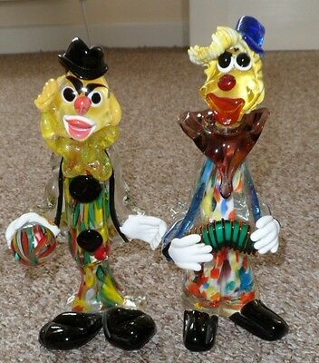 Two Stunning Glass Clowns, pls look