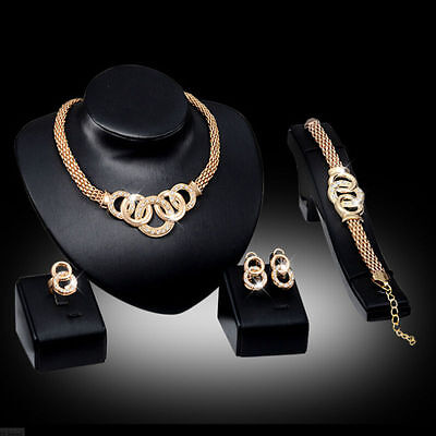 Bridal Fashion Necklace Sets Crystal Jewelry Gold Earring Alloy Plated Women