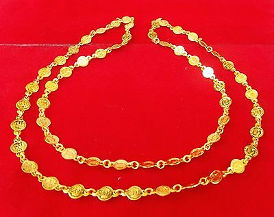 Ethnic South Indian Style Gold Plated Coins American Fashion Necklace Chain 30""
