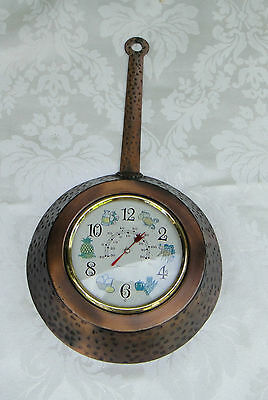 Lovely Vintage Hammered Beaten Copper Frypan Thermometer Wall Decor - VGC