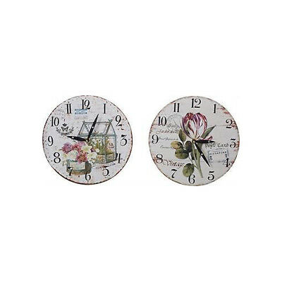 TTranspac vintage Home Inspired Country Pink Flowers Wall Clock QUARTZ MOVEMENT