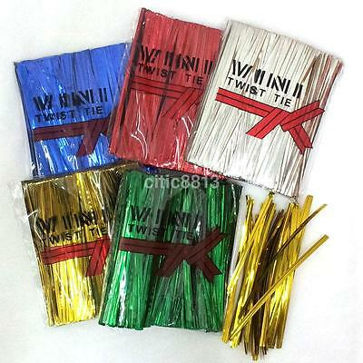 800Pcs/Pack Metallic Twist Ties for Cello Bags Candy Bags Bread Bags 6 Colors