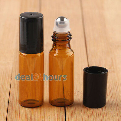 10X Amber ROLL ON GLASS ESSENTIAL OIL BOTTLE Metal Roller Ball 5ml/10ml AU Stock