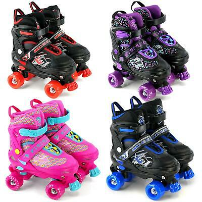 Childrens Adults 4 Wheel Kids Boys Girls Adjustable Quad Roller Skates Boots