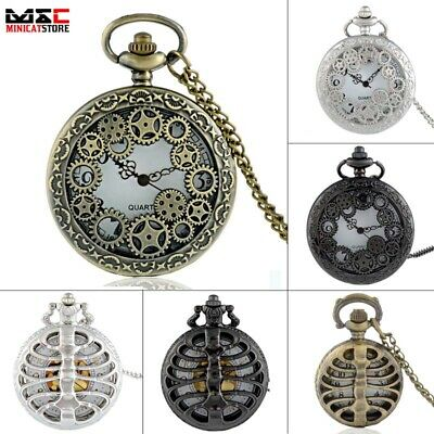 Retro Steampunk Gear Skeleton Antique Pocket Watch Quartz Necklace Chain Gift UK