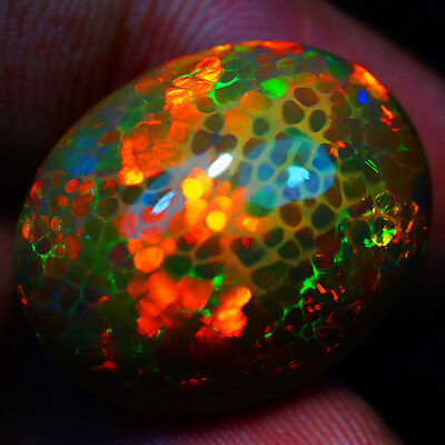 19.76ct  AWESOME RARE ONE OF KIND MICRO HONEY COMB  G SOLID SEMI BLACK WELO OPAL