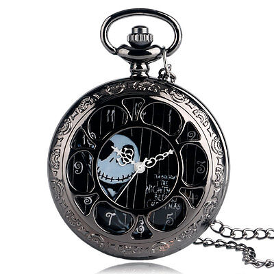 The Burton's Nightmare Before Christmas Quartz Pocket Watch Necklace Chain Gift
