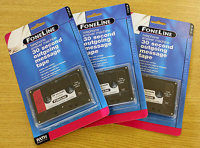 3 x Endless Loop 30 second Answering Machine Outgoing Message Cassette Tapes