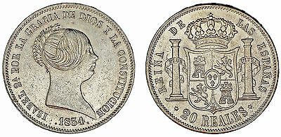 20 Silver Reales/20 Reales Plata. Isabel Ii. Madrid 1854. Xf+/ebc+.muy Atractiva