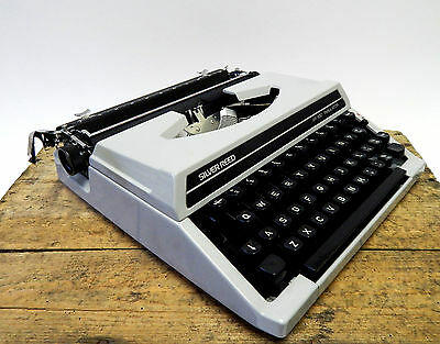 Vintage Retro Silver Reed Portable Typewriter SR100 Grey - Silver Seiko Japan #2