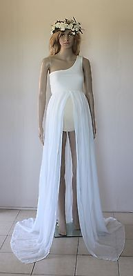 One Shoulder Chiffon Maternity Dress Gown - Photography Photo Prop - Size 8-12