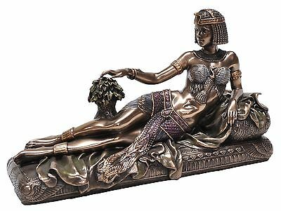 Queen Cleopatra Lying on Bed, Veronese Bronze Figurine Art Deco Egyptian Queen
