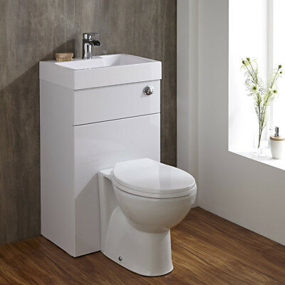 Linton Space Saving Bathroom White Combination Toilet WC & Basin Sink Unit