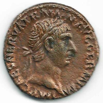 ROMAN IMPERIAL - TRAJAN (98-117AD) AE AS. His head right, Rev Victory advance EF