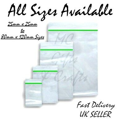 10 - 200 Clear Resealable Small Plastic Bags Baggies Baggy Polythene Grip Seal